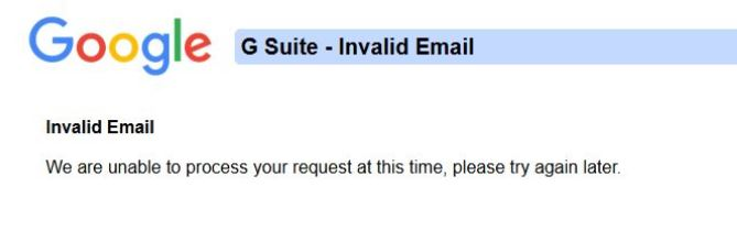 G SUITE: invalid E-MAIL