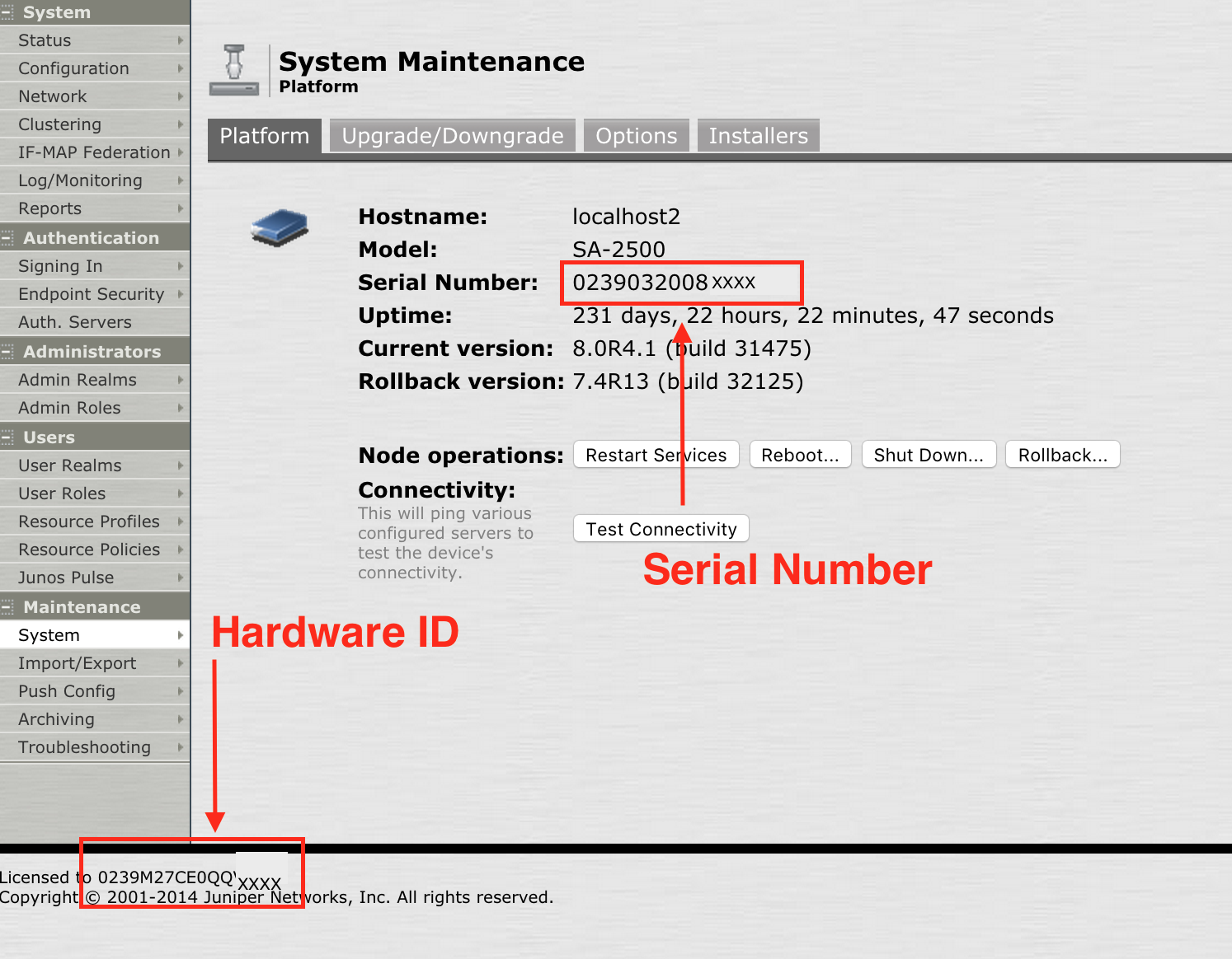 Pulse Secure Article: KB29853 - How can I find the serial number and